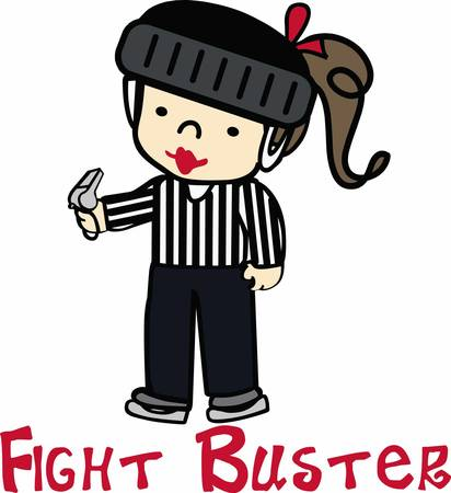 linesman: Hockey lovers will like a fun refree on the ice. Illustration