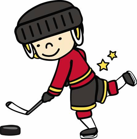 puck: Hockey lovers will like a fun game on the ice. Illustration