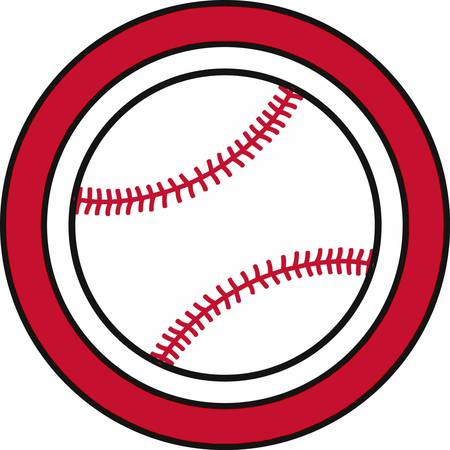 little league: Baseball surrounded by a red ring frame. Illustration