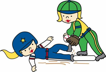 softball player: Softball player sliding in to base and being tagged. Illustration