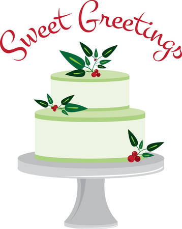 Celebrate the holidays with this holly cake design.