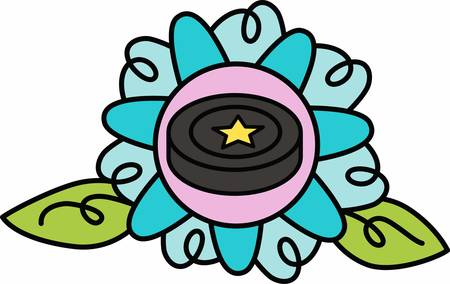 flowered: Hockey players will love a flowered puck.