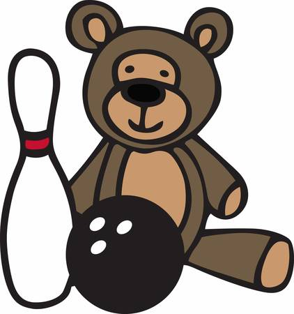 teddy bear cartoon: Cute teddy bear cartoon with a bowling ball and pin.