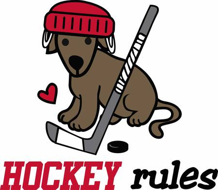 puck: Hockey players will love a great sporting dog. Illustration