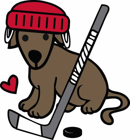 hockey players: Hockey players will love a great sporting dog. Illustration