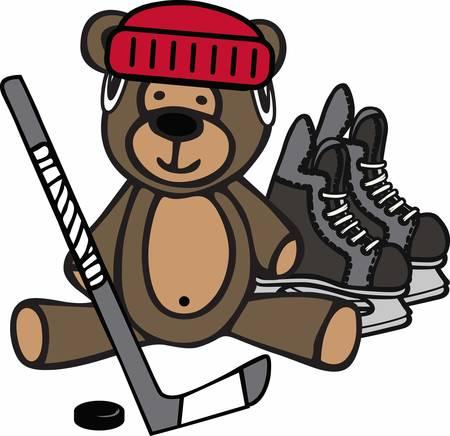 하키 선수는 테디 베어로 게임을 할 수 있습니다.