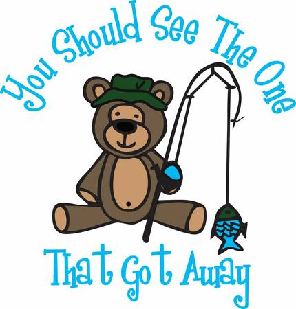 Cute angling teddy bear cartoon with his pole and fish. Vector