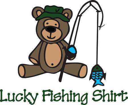Cute angling teddy bear cartoon with his pole and fish.