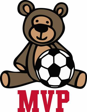 Soccer players will love a nice sporting teddy. Illustration