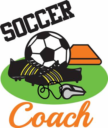 soccer coach: Soccer players will enjoy a great set of game gear. Illustration