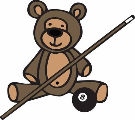Cute billiards teddy bear cartoon with cue stick and 8ball.