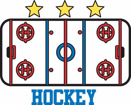 hockey players: Hockey players love to play on a nice ice rink. Illustration