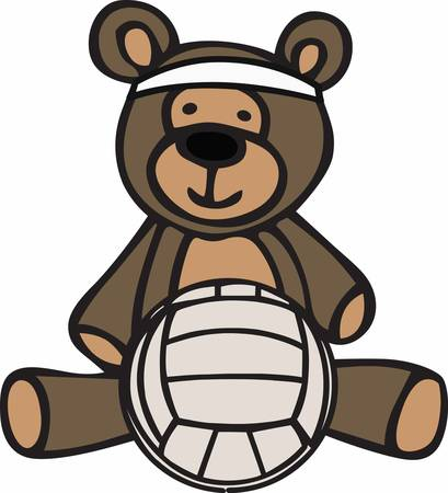 teddy bear cartoon: Cute volleyball teddy bear cartoon wearing a headband.