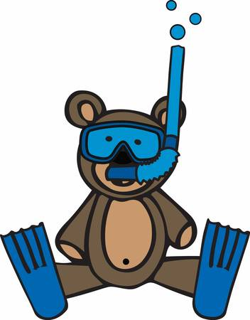 teddy bear cartoon: Cute snorkeling teddy bear cartoon wearing blue flippers.