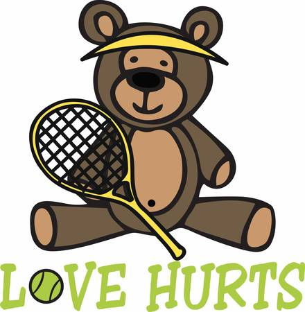 love hurts: Cute tennis player teddy bear cartoon wearing a yellow visor and holding a racket.