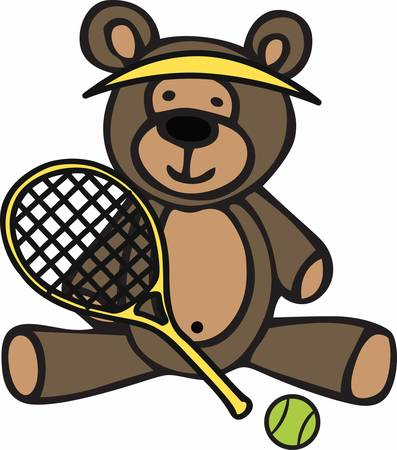 teddy bear cartoon: Cute tennis player teddy bear cartoon wearing a yellow visor and holding a racket.