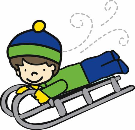 bobsled: January brings the snow makes our feet and fingers glow Illustration