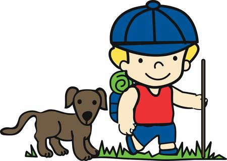 hiking trail: Hiker dogs help us in trekking and camping pick these designs from concord collections Illustration