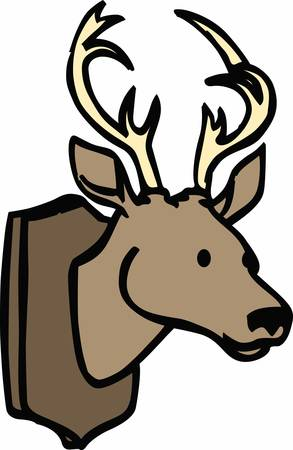Deer mount is an antique wall decal cull these designs from concord collections Illustration