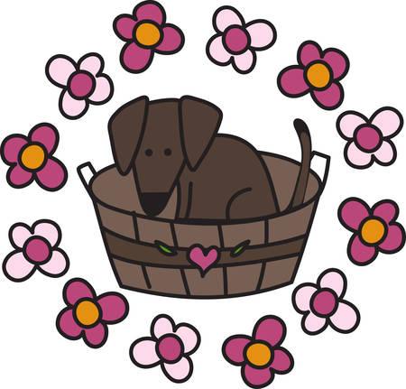 Een hond in een mand met bloemen om hen heen Stock Illustratie