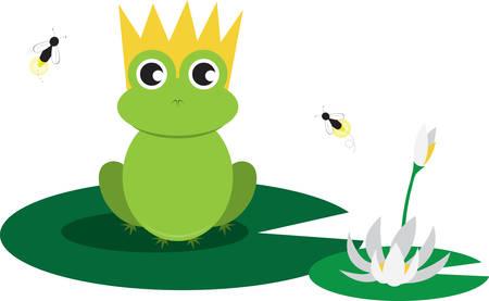 rana principe: Príncipe lindo de la rana que se sienta en un cojín de lirio y siendo zumbado por las moscas Vectores