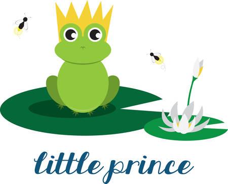 the frog prince: Rana sveglia principe seduto su una ninfea e di essere suonato dalle mosche