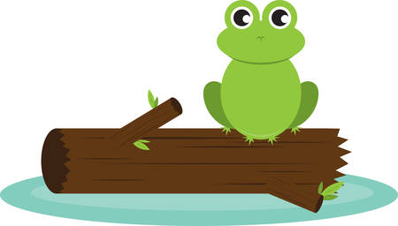 Cute frog sitting on a log in the water.