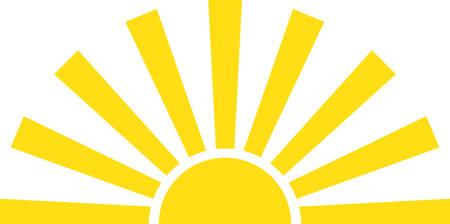 Golden rays shining sun.