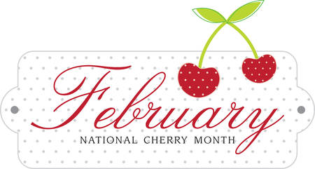 February National Cherry Month label for cooking with cherries or kitchen designs. Çizim