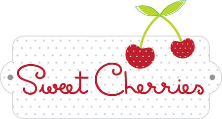 feb: February National Cherry Month label for cooking with cherries or kitchen designs. Illustration