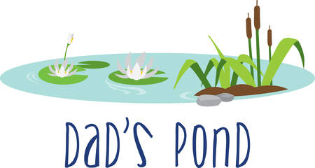 Floating water lilies and cattails scene. Illustration