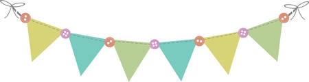 Blank flag banner with buttons for baby shower decorating. Illustration
