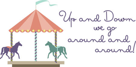 Carousel amusement park or carnival ride with colorful horses. Иллюстрация