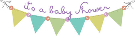 Flag banner with buttons for baby shower decorating. Ilustração