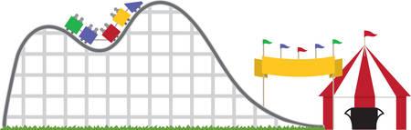 amusement park ride: Rollar coaster amusement park ride with striped big top tent.