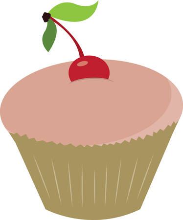 Cupcake with cherry on top for baking or kitchen designs. Çizim