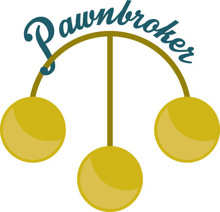 Three gold coin symbol for pawnshops money brokers and merchants.