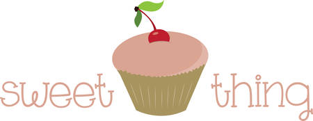 Cupcake with cherry on top for cooking or kitchen designs.