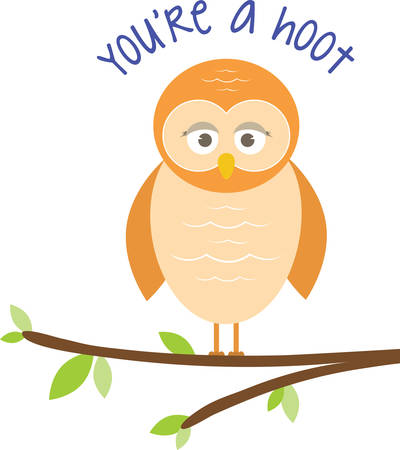 critter: Cute owl perched on a tree branch. Send this great message for a funny friend.