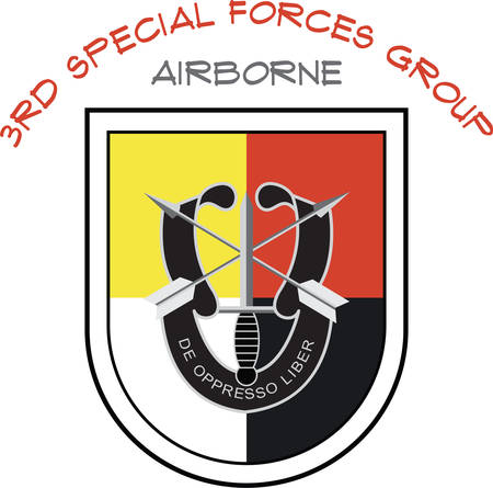 陸軍特殊部隊のエンブレムと軍のメンバー友人や家族のためのモットー。  イラスト・ベクター素材