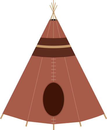 dwelling: Brown Native American teepee for cultural designs. Illustration