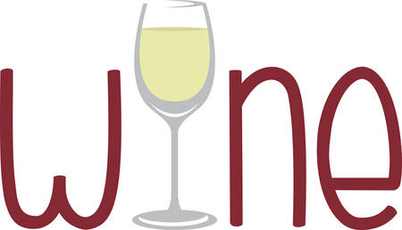 vino: Wine wording with glass of white wine for bar or kitchen designs. Illustration