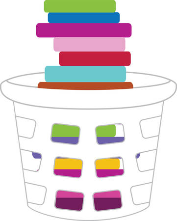 v�tements pli�s: Panier � linge empil�s avec les v�tements pli�s color�s.