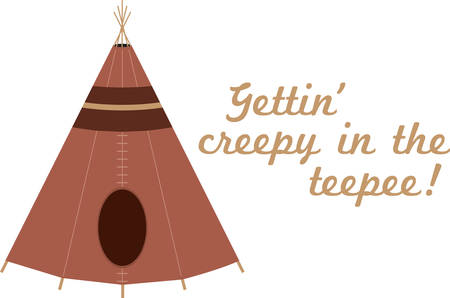 teepee: Brown Native American teepee for cultural designs. Illustration
