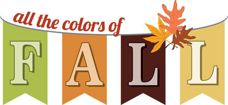 accent: Fall pennant streamer with a mixed leaf accent.