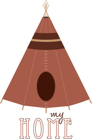 Brown Native American teepee for cultural designs. Vettoriali