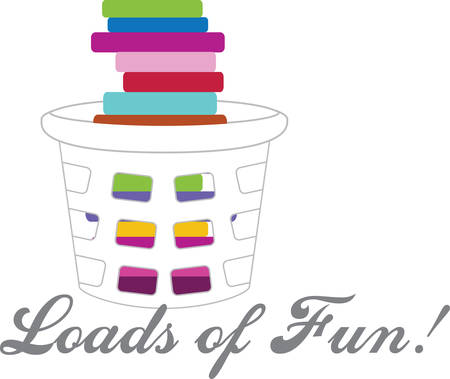 Laundry basket stacked with colorful folded clothes. Ilustrace