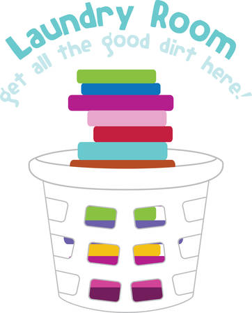 folded clothes: Laundry basket stacked with colorful folded clothes. Illustration