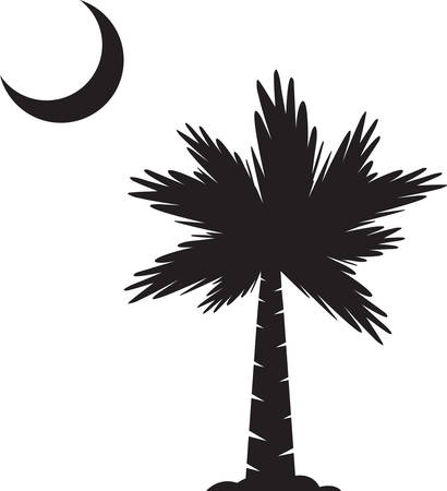 Tropical palm tree silouette with a cresent moon. Vector
