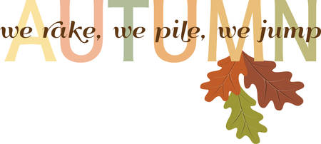 accent: Colorful autumn lettering with a oak leaf accent. Illustration
